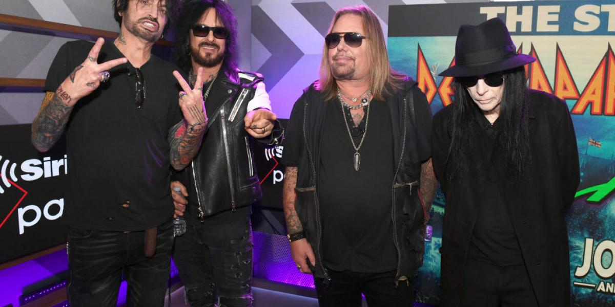 Tommy Lee, Nikki Sixx, Vince Neil, and Mick Mars of Mötley Crüe attend the Press Conference with Mötley Crüe, Def Leppard, and Poison announcing 2020 Stadium Tour on December 04, 2019 in Hollywood, California. (Photo by Kevin Winter/Getty Images)