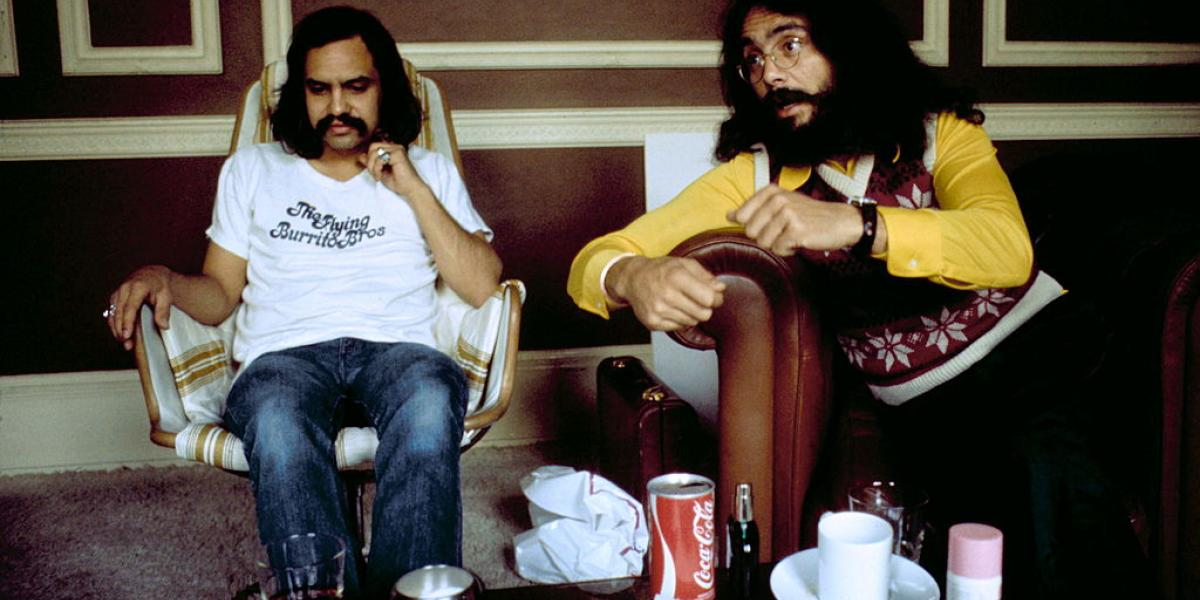 Cheech And Chong, Richard Cheech Marin and Tommy Chong, backstage, New York, 1972. . (Photo by Michael Putland/Getty Images)