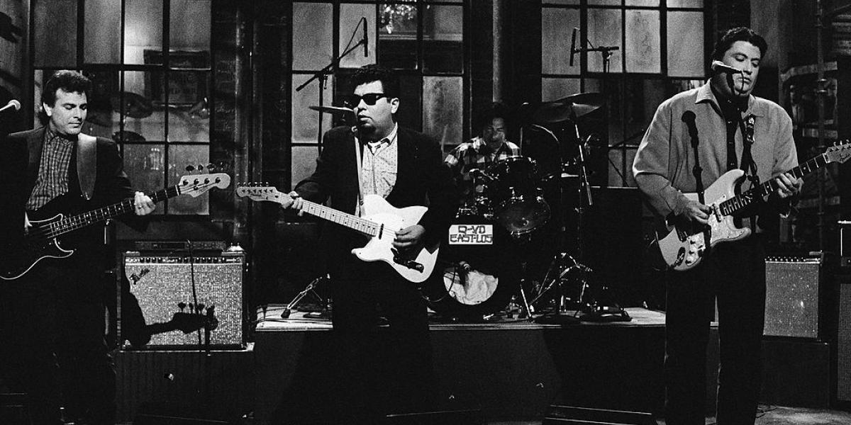 SATURDAY NIGHT LIVE -- Episode 19 -- Pictured: (l-r) Conrad Lozano, Cesar Rosas, Louie Perez, David Hidalgo of Los Lobos during the musical performance of 'Is That All There Is' on May 16, 1987 -- Photo by: Alan Singer/NBC/NBCU Photo Bank