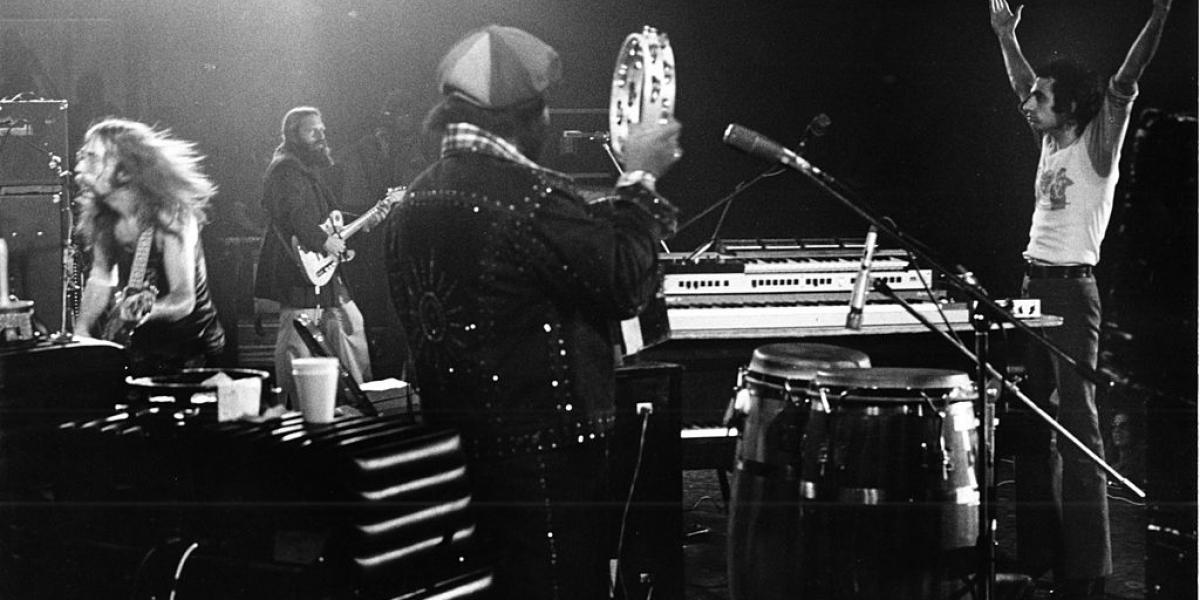 LOS ANGELES, UNITED STATES - JULY 03: (L-R) Jeff Skunk Baxter, Denny Dias, Royce Jones and Donald Fagen of Steely Dan perform on stage on July 3rd 1974 in Los Angeles, California, United States. (Photo by Gijsbert Hanekroot/Redferns)