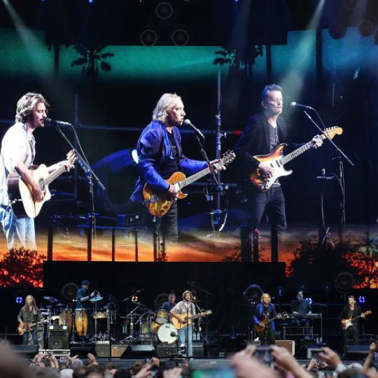 LONDON, ENGLAND - JUNE 23: Vince Gill and Timothy B Schmit and Don Henley and Deacon Frey and Joe Walsh and Steuart Smith of the Eagles perform at Wembley Stadium on June 23, 2019 in London, England. (Photo by Harry Herd/Redferns)