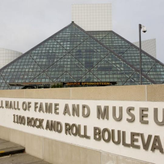 The Rock and Roll Hall of Fame Museum building, designed by architect by I. M. Pei, is seen in this 2009 Cleveland, Ohio, early morning city landscape photo. (Photo by George Rose/Getty Images)