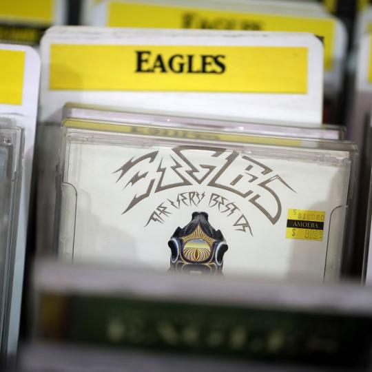 "A CD version of The Eagles album ""Their Greatest Hits 1971-1975"" is displayed at Amoeba Music on August 20, 2018 in San Francisco, California. The Eagles album Their Greatest Hits 1971-1975 has surpassed Michael Jackson's Thriller album as the best-selling album of all time. The Recording Industry Association of America (RIAA) recalculated sales of the Eagles hits collection and certified the LP as 38x platinum compared to Thriller's 33x platinum. (Photo by Justin Sullivan/Getty Images)"