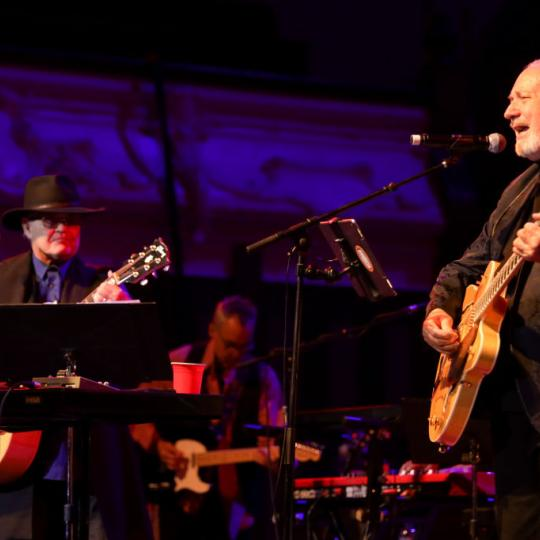 Micky Dolenz and Michael Nesmith perform on stage as part of their The Monkees Present: the Mike and Micky Show on June 09, 2019 in Auckland, New Zealand. (Photo by Dave Simpson/WireImage)