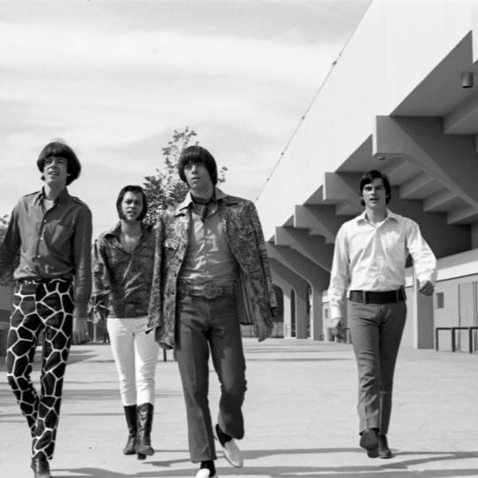 (L-R) Rick Andridge, Daryl Hooper, Sky Saxon and Jan Savage of the rock and roll group 'Sky Saxon And The Seeds' pose for a portrait on July 27, 1967 in Los Angeles, California. (Photo by Michael Ochs Archives/Getty Images)