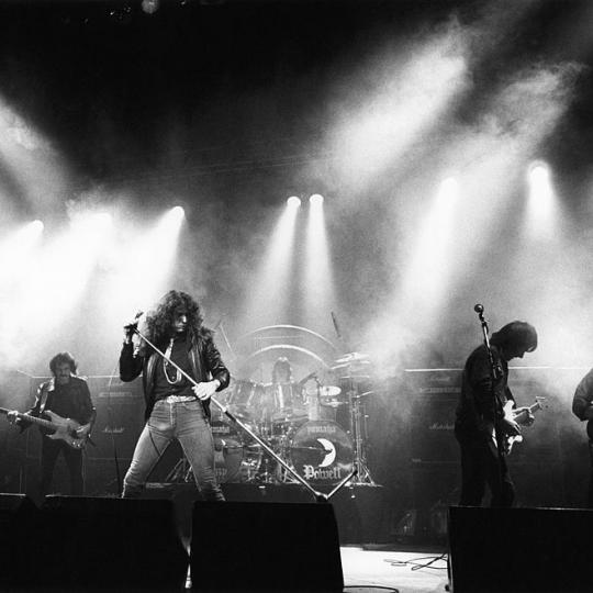 Photo of WHITESNAKE and Colin HODGKINSON and David COVERDALE and Cozy POWELL and Mel GALLEY and Mick MOODY, Group performing on stage L-R Colin Hodgkinson, David Coverdale, Cozy Powell, Mel Galley and Mick Moody (Photo by Fin Costello/Redferns)