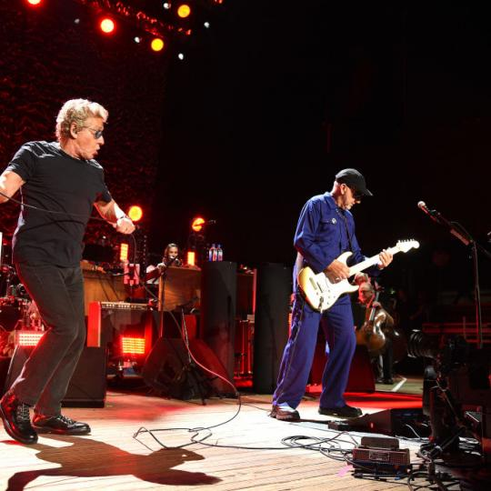 Roger Daltrey and Pete Townshend of The Who perform onstage at Northwell Health at Jones Beach Theater on September 15, 2019 in Wantagh, New York. (Photo by Kevin Mazur/Getty Images)