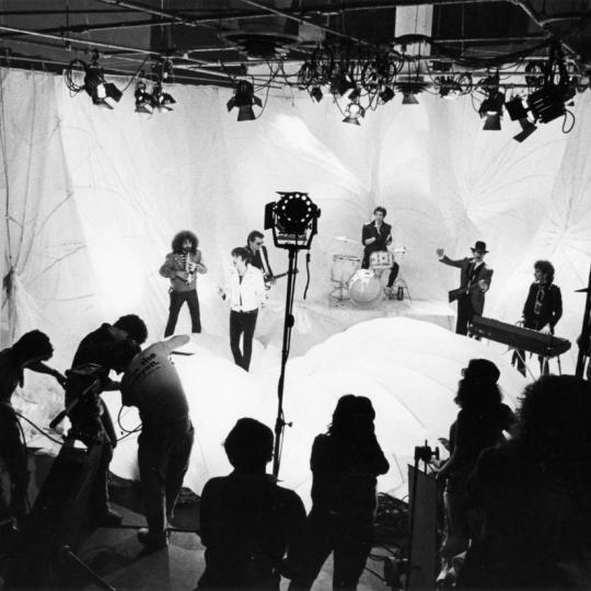 "BOSTON, MA - FEBRUARY 8: The J. Geils Band tapes a performance of ""Freeze Frame"" for a music video at Central Studios in Boston on Feb. 8, 1982. (Photo by Wendy Maeda/The Boston Globe via Getty Images)"
