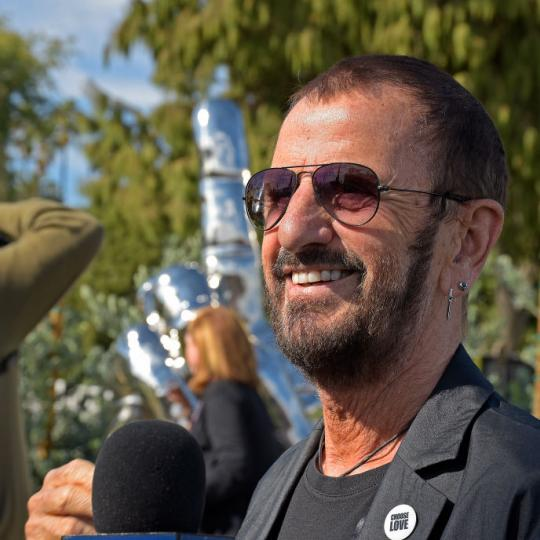 "BEVERLY HILLS, CALIFORNIA - NOVEMBER 02: Musician Ringo Starr attends a public art dedication for his donated sculpture ""Peace and Love"" at Beverly Gardens Park on November 02, 2019 in Beverly Hills, California. (Photo by Michael Tullberg/Getty Images)"