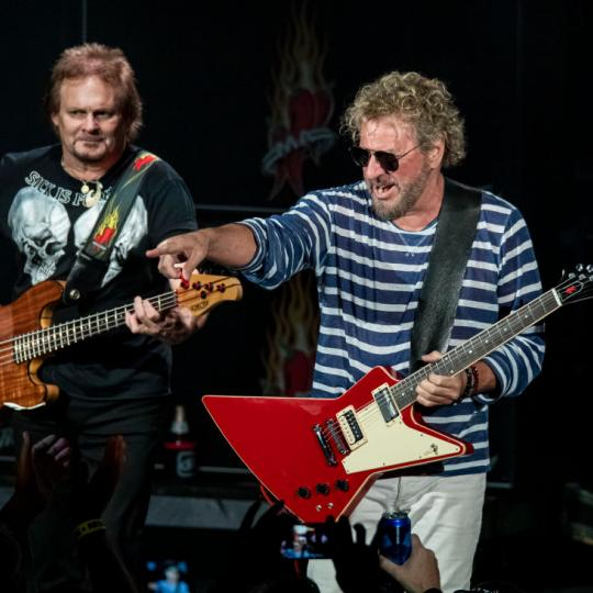 CLARKSTON, MICHIGAN - MAY 22: Michael Anthony (L) and Sammy Hagar of Sammy Hagar And The Circle perform at DTE Energy Music Theater on May 22, 2019 in Clarkston, Michigan. (Photo by Scott Legato/Getty Images)
