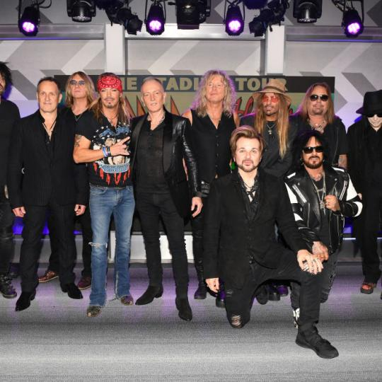 Rick Allen, Tommy Lee, Vivian Campbell, Joe Elliott, Bret Michaels, Phil Collen, Rick Savage, Rikki Rockett, C.C. DeVille, Nikki Sixx, Vince Neil, Mick Mars, and Bobby Dall attend the Press Conference with Mötley Crüe, Def Leppard, and Poison announcing 2020 Stadium Tour on December 04, 2019 in Hollywood, California.