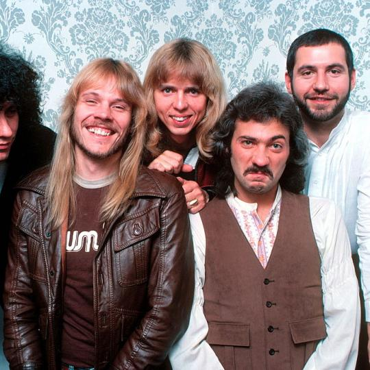 Styx, group portrait, New York, 1978, L-R John Panazzo, James Young, Tommy Shaw, Dennis De Young, Chuck Panazzo. (Photo by Michael Putland/Getty Images)