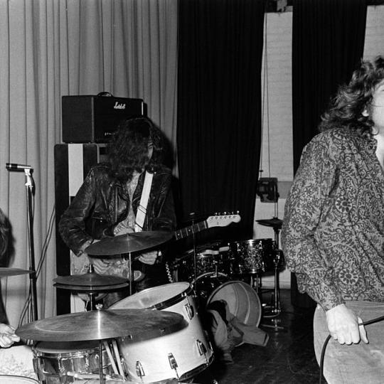 From left, John Bonham, Jimmy Page and Robert Plant of Led Zeppelin perform live on stage at Gladsaxe Teen Club, Copenhagen, Denmark, 15th March 1969. (Photo by Jorgen Angel/Redferns)