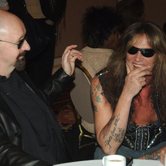 Rob Halford and Sebastian Bach during 2006 TCA MTV Networks - Green Room at Ritz Carlton Hotel, Pavilion Room in Pasadena, California, United States. (Photo by Jeff Kravitz/FilmMagic, Inc for MTV Networks - CA)