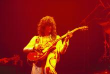 Photo of Jimmy PAGE and LED ZEPPELIN, Jimmy Page performing live onstage during the 1977 US tour (either New York or Los Angeles), playing Gibson Les Paul guitar (Photo by Richard E. Aaron/Redferns)