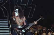 Gene Simmons of Kiss performs live at The Winterland Ballroom in 1977 in San Francisco, California. (Photo by Richard McCaffrey/ Michael Ochs Archive/ Getty Images)