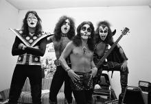 (EXCLUSIVE, Premium Rates Apply) Ace Frehley, Paul Stanley, Peter Criss and Gene Simmons of Kiss, in the dressing room before performing at Alex Cooley's Electric Ballroom. (Photo by Tom Hill/WireImage)