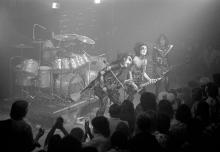 Kiss Performs at Alex Cooley's Electric Ballroom - July 18, 1974 Peter Criss, Gene Simmons, Paul Stanley and Ace Frehley of Kiss (Photo by Tom Hill/WireImage)