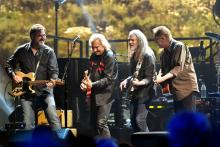 INGLEWOOD, CA - SEPTEMBER 14: (L-R) Musicians Vince Gill, Joe Walsh, Timothy B. Schmit and Don Henley of The Eagles perform onstage during 'An Evening with The Eagles' at The Forum on September 14, 2018 in Inglewood, California. (Photo by Scott Dudelson/Getty Images)