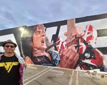 Robert Vargas and his EVH mural at Guitar Center in Hollywood
