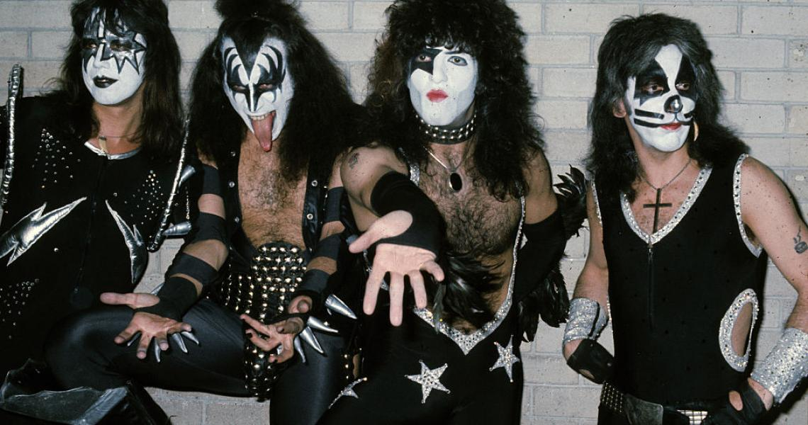 American rock group Kiss, sporting their face paint and costumes, visit London at the start of their first European tour on May 10, 1976 in London, England. The group are lead singer Gene Simmons, guitarist Ace Frehley, drummer Peter Criss and guitarist Paul Stanley. (Photo by Anwar Hussein/Getty Images)