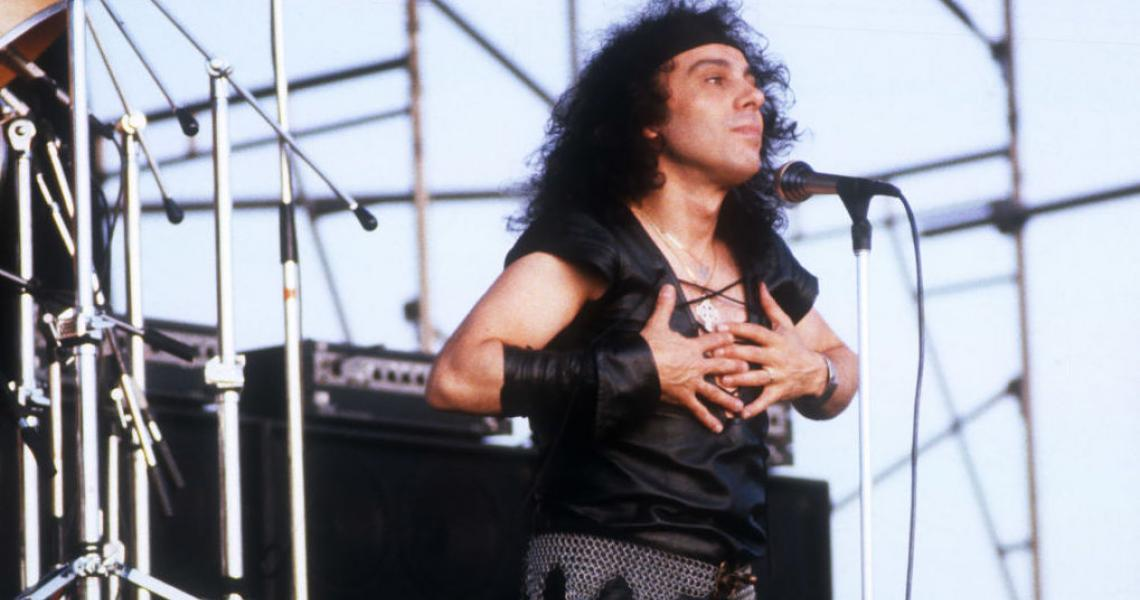 SACRAMENTO, CA - August 2: Ronnie James Dio is performing at Cal Expo Amplitheater in Sacramento, California on August 2, 1983. (Photo by Larry Hulst/Michael Ochs Archives/Getty Images)