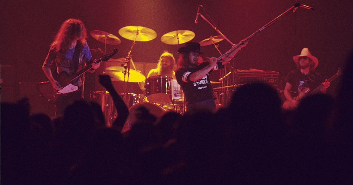 Allen Collins, Artimus Pyle, Ronnie Van Zant, and Leon Wilkerson of Lynyrd Skynyrd at the Omni Coliseum in Atlanta, Georgia (Photo by Tom Hill/WireImage)