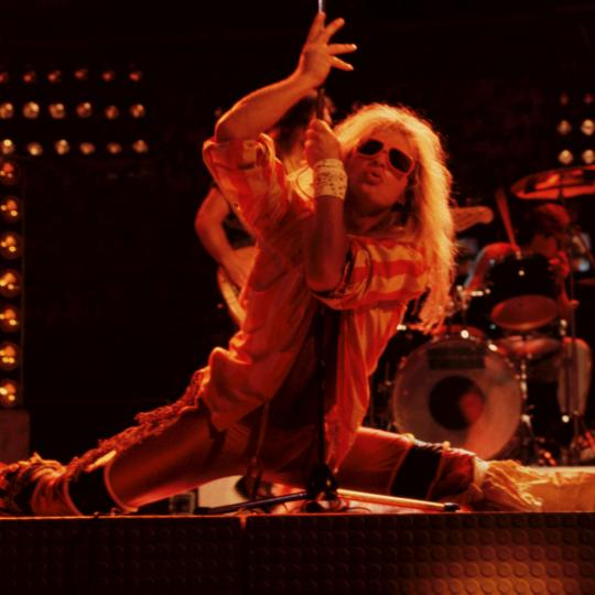 David Lee Roth, vocalist of hard rock band Van Halen, Rome, Italy, 1982.