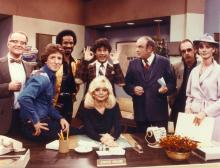 "LOS ANGELES - JANUARY 1: Cast members (from left) Richard Sanders, Gary Sandy, Tim Reid, Frank Bonner (in back), Loni Anderson, Gordon Jump, Howard Hesseman and Jan Smithers star in the CBS television series ""WKRP in Cincinnati."" Image dated 1979. (Photo by CBS via Getty Images)"