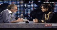 Prince talks to Larry King in 1999.