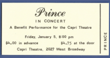 A ticket to Prince's first show.