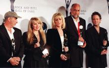 Fleetwood Mac at the Rock and Roll Hall of Fame in 1998